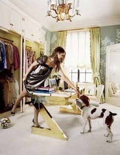 Aerin Lauder's Closet.  I love that she has turned it into a dual closet/work space.  My favorites are the desk and the wallpaper.