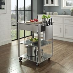 Crosley Furniture Culinary Prep Kitchen Cart: Heavy duty caster for mobilityDeep storage drawerButcher block topTowel barIntegrated knife storage mounts on sidePowder coated steel shelves Modern Kitchen Cabinets, Kitchen Units, Kitchen Furniture, Kitchen Countertops, Steel Furniture, Kitchen Tools, Kitchen Appliances, Kitchen Island Ideas On A Budget, Kitchen Island Cart