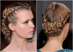 Braided Bun dutch french braid middle part elie saab paris haute couture fashion week