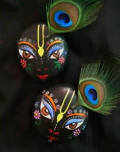 Our culture is so unique that there are no words to describe it's beauty. Pebble Painting, Pebble Art, Stone Painting, Rock Painting, Cute Krishna, Krishna Art, Shree Krishna, Krishna Images, Hanuman