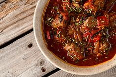 Excellent for Game - Spanish stew dominated by roasted red peppers, paprika and onions.