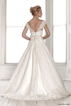 sassi holford wedding dress 2015 bridal signature collection sweetheart neckline tapered lace strap with sash a line dress style saskia back -- Sassi Holford 2015 Wedding Dresses
