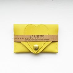 Heart Card Case Yellow, business card holder