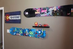 Snowboards hung on bedroom wall Snowboards, Bedroom Wall, Colorado, Flag, College, Winter, Winter Time, Aspen Colorado, University