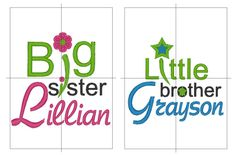 Hey, I found this really awesome Etsy listing at https://www.etsy.com/listing/90919655/personalized-names-big-sister-and-little