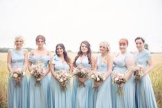 Bridesmaids Bohemian Canal Blue Silky Satin Jersey infinity Convertible Dresses by Coralie Beatrix, just $98.99