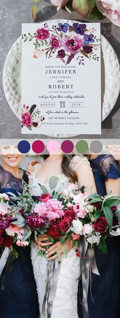 magenta pink, blue and purple fall wedding colors with matched invitations