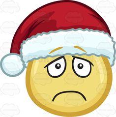 A lonely and depressed emoji wearing a Santa hat #cartoon #clipart #vector #vectortoons #stockimage #stockart #art