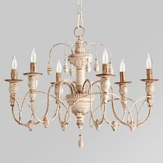 Gustavian Style White Chandelier. I am dreaming of a white chandelier.....so Veranda Magazine style.