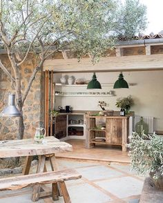 modern rustic interiors This home on the island of Mallorca (Spain) has been designed by Spanish architectural firm Moredesign. Building the rustic stone house was a process ove Design Exterior, Exterior Paint, Door Design, Rustic Stone, Outdoor Kitchen Design, Rustic Kitchen, Backyard Kitchen, Rustic Outdoor Spaces, Indoor Outdoor Kitchen
