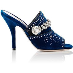 Miu Miu Women's Crystal- & Stud-Embellished Velvet Mules ($769) ❤ liked on Polyvore featuring shoes, blue, leather sole shoes, velvet shoes, blue high heel shoes, open toe mules and blue shoes