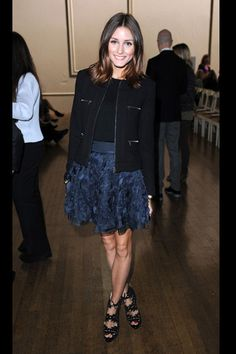 Olivia Palermo sat front row at Julien McDonalds London Fashion Week show in an intricately embellished Diane von Furstenberg skirt, a zip-front jacket, Charlotte Olympia shoes and an Hermes clutch. Olivia Palermo Lookbook, Olivia Palermo Style, Charlotte Olympia, Sienna Miller, Star Fashion, Fashion Outfits, Fashion Weeks, Christian Dior, Gamine Style