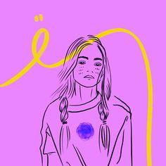 #drawing #outline #child #girl #illustration #art #digitalart #color #line #stroke #pink #emotions #feelings #pigtails #violet #80ies #eighties #olivia #bored