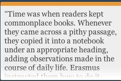 Erasmus definition of  commonplace books