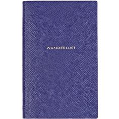 "Smythson ""Wanderlust"" Panama Notebook (310 BRL) ❤ liked on Polyvore featuring home, home decor, stationery and blue"