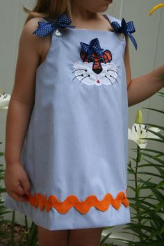 Auburn Tigers A-line dress with tiger applique and bows