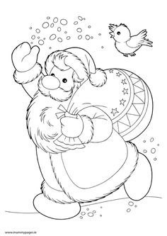 Santa Colouring Page | MummyPages.ie - mummypages.ie