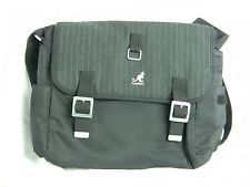 Kangol Messenger Bag Nylon Men's Laptop Black Grey Pinstripe Bag Nylon Satchel