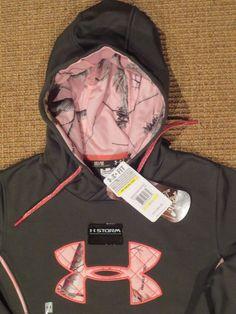668926499981c Under armour women s real tree hoodie medium cold gear storm big logo new