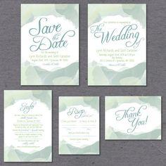 Green Watercolor Wedding Invite Printable by TheInvitationOven