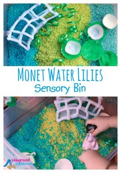 The Art History for Preschool series continues, featuring an Impressionist inspired sensory bin based on Monet's Water Lilies.