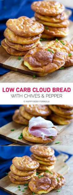 Low Carb Cloud Bread with Chives & Pepper - gluten free, nut free, primal, high protein. Recipe via: https://happybodyformula.com/recipe-for-cloud-bread-with-chives-and-pepper/