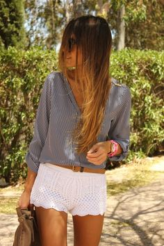 Lace shorts and a billow top