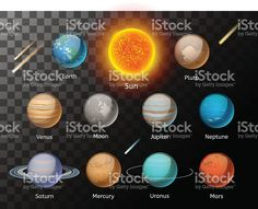 Planets colorful vector set on dark background royalty-free stock vector art
