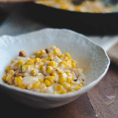 A Southern classic with a few extras -- creamed corn with bacon, onions, and diced green chili.