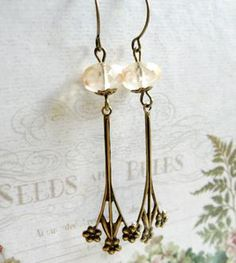 Brass Floral Drop Earrings with Glass Beads