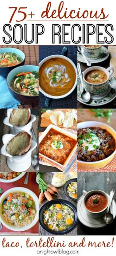 75 Delicious Soup Recipes ~ Such a great list of soups - perfect for this time of year!