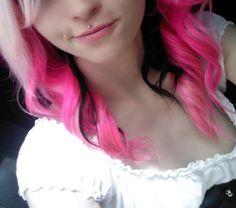 black & pink & blonde #dyed #hair #pretty