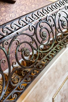 Hand Forged Interior Railing Spiral Scrolls with Gold Highlight