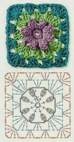 Crochet Granny Square Patterns The Ultimate Granny Square Diagrams Collection. - The Ultimate Granny Square Diagrams Collection. Motifs Granny Square, Crochet Blocks, Granny Square Crochet Pattern, Crochet Diagram, Crochet Chart, Crochet Squares, Granny Squares, Mandala Au Crochet, Crochet Motif