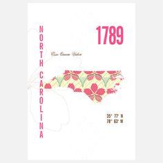 North Carolina Map Print 13x19