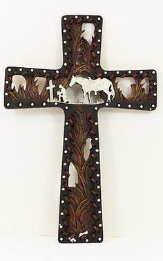 """Popular item! Decorative Cross Praying cowboy and horse Grass look and stitched design Approximate size 14"""" x 9"""""""