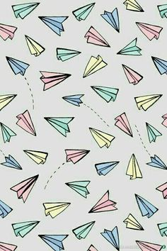 Paper Planes in Pastel Art Print by Tangerine-Tane - X-Small Wallpaper Doodle, Hipster Phone Wallpaper, Wallpaper Wa, Cute Patterns Wallpaper, Iphone Background Wallpaper, Kawaii Wallpaper, Aesthetic Iphone Wallpaper, Tumblr Backgrounds, Cute Wallpaper Backgrounds