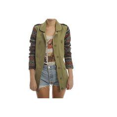 Ark Army Green Adia Aztec Military Jacket ($67) ❤ liked on Polyvore