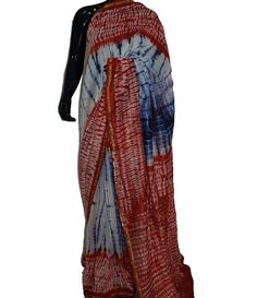 Multicolor Handblock printed Cotton Silk Chanderi Saree