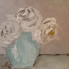 White Roses by Virginia Reed Oil ~ 6 inches x 6 inches Acrylic Flowers, Abstract Flowers, Acrylic Art, Small Canvas Art, Small Art, Canvas Painting Designs, Buddhist Art, Paintings I Love, Flower Pictures