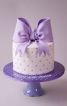 Beautiful Cake Pictures: Quilted Purple Bow Birthday Cake - Birthday Cake, Cakes with Ribbons, Purple Cakes - Bow Cakes, Fondant Cakes, Cupcake Cakes, Fondant Bow, Simple Fondant Cake, 16 Cake, Marshmallow Fondant, Fancy Cakes, Cute Cakes