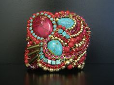 Tribal Cuff in Turquoise & Pink  by SharonaNissan, via Etsy