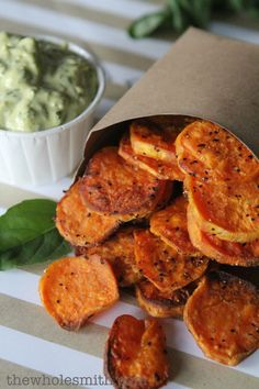 "sweet potato ""chips"" + dip - not sure what I did wrong as mine were just roasted sweet potato slices.  Next time I will cut them thinner than the recipe calls for."