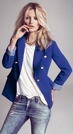 Electric blue military jacket £29.99 and distressed jeans £34.99
