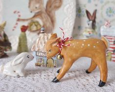 Christmas Holiday Fawn and Bunny Set, Hand Sculpted Porcelain Clay Figurines