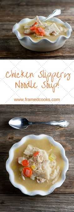 This recipe for chicken and slippery noodle soup tastes like the love child of noodles and dumplings, all in an easy to make chicken soup!