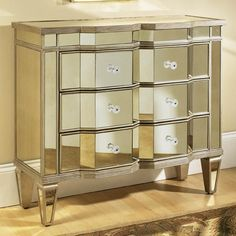 Mirrored 3-Drawer Accent Chest, Gold