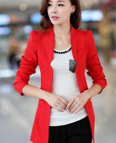 Las nuevas mujeres Blazers Solid para mujer chaqueta delgada de un solo botón mujeres se adapta a cinco colorea roja / Blazer negro