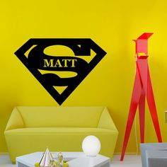 Wall Decal Nursery Vinyl Sticker  Superhero Cartoon With Personalized Name Baby Nursery Art Design Room Nice Picture Decor Hall Wall Chu1250