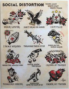 Tattoo flash print inspired by the Social Distortion White Light, White Heat, White Trash album lyrics. Social Distortion I was wrong lyrics. Body Art Tattoos, New Tattoos, Tattoos For Guys, Sleeve Tattoos, Tattoo Ink, Tattoos Pics, Tattoo Music, Tattoo Sleeves, Retro Tattoos
